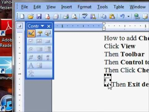 How to make check box in Word  2003