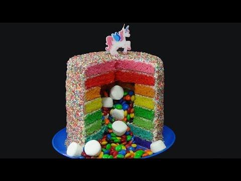 how to make rainbow all around pinata cake