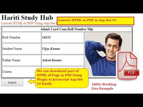 How to Convert HTML ( Table ) into PDF File as Download in Asp.Net C#   Hindi   Free Online Classes