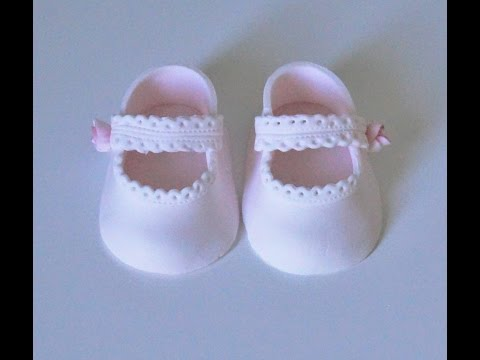 Cake decorating tutorials | how to make fondant baby lace shoes | Sugarella Sweets