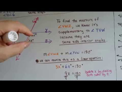 Grade 8 Math #11.1d, Finding unknown angle measures