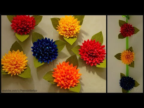 DIY - How to make crepe paper flowers | Easy paper flower tutorial | Easy home decor ideas