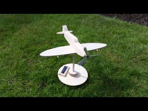 Spitfire - wooden model kit - (unpainted) Solar powered propeller