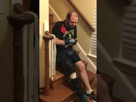 Bumping up stairs with a broken arm and leg