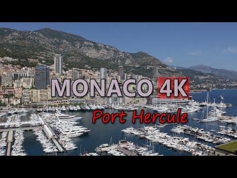 Ultra HD 4K Monaco Travel Port Hercule Tourist Attraction Luxury Yachts Harbor Video Stock Footage