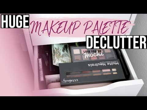 HUGE MAKEUP PALETTE DECLUTTER 2018 | Eye Palettes & Face Palettes