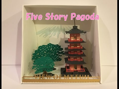 【Paper craft 】 paper nano Five Story Pagoda