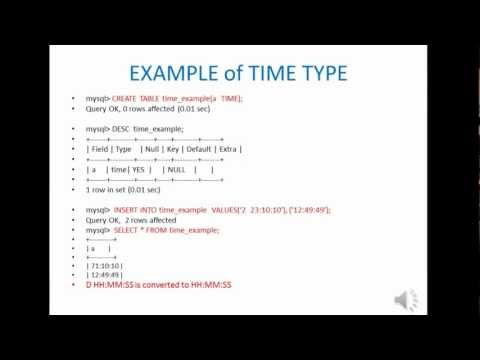 MySQL Date and Time Type tutorial, HD