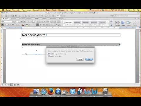 Updating and Inserting a Table of Contents in Word for Mac