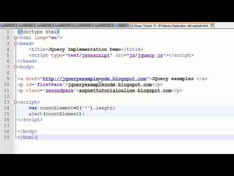 JQuery Tutorial 15 - All Selector Explanation with example