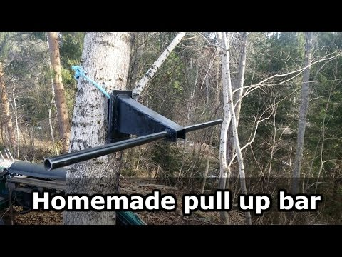 Homemade pull up bar. For outdoor use and removable.