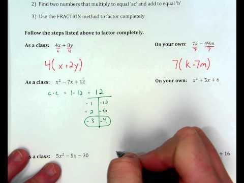 Factoring Quadratics when a=1, ex. 2