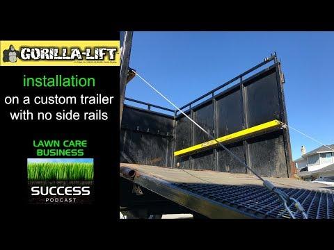 Gorilla lift installation on a custom trailer with no side rails