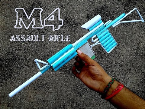 How to Make a Paper M4 Assault Rifle (that Shoots) - paper gun - toy for kids