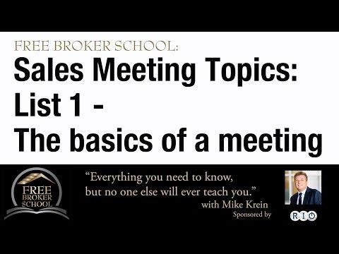Free Broker School: Real Estate Sales Meeting Ideas - Have a Successful Sales Meeting Every Week!