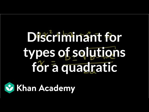 Discriminant for types of solutions for a quadratic | Algebra II | Khan Academy