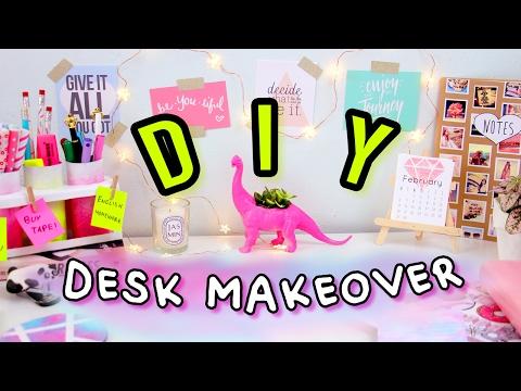 DIY Desk Decor & Organization | Desk Makeover 2017! Make Your Desk Cute & Tumblr!