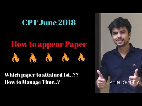 How to appear in CPT paper June 2018 By Jatin Dembla
