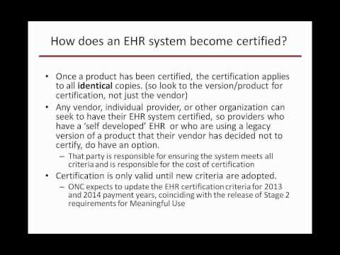 Webinar:Understanding EHR Certification for the CMS EHR Incentive Program