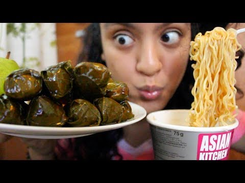Eating Dolma aka Stuffed Grape Leaves and Beef Cup Noodles MUKBANG