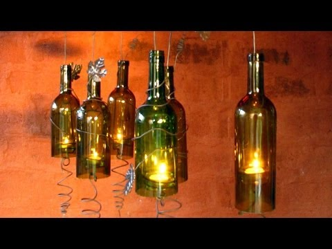 Recycled Wine Bottles Made Into A Hurricane Candle Holder, DIY Video Crafts,decorating Ideas