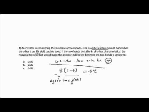 CFA Tutorial: Fixed Income (Calculating Marginal Tax Rate)
