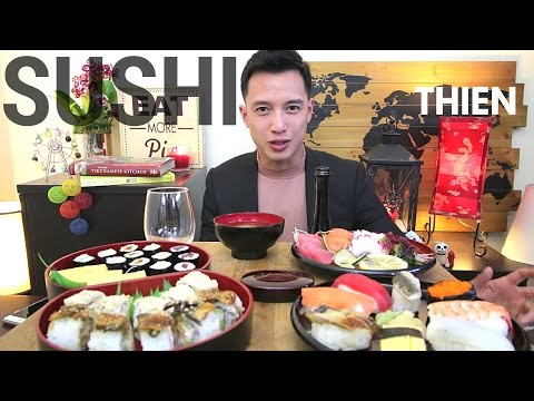 [mukbang with THIEN]: Sushi & Sashimi (One-Year Anniversary with YouTube)