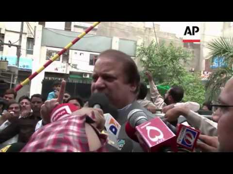 Former Pakistani prime minister Nawaz Sharif voting in election