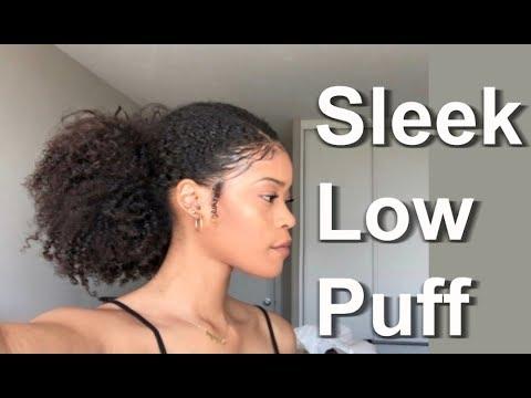 Sleek Low Puff on Natural Hair