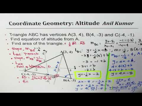 Find equation of Altitude and then Area of Scalene Triangle