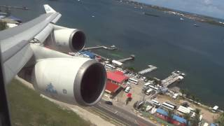 "KLM Boeing 747-400 ""Rocket"" Takeoff St Maarten Princess Juliana Airport"