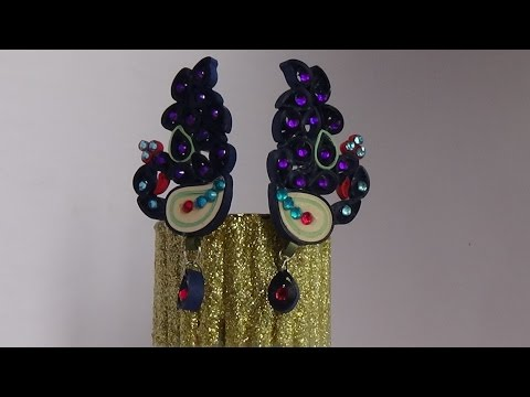 Quilling Paper Earring ... New Design.. (peacock Earring) !!2016!!