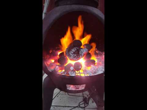 A nice heat burning coal and wood from my cast iron chimnea.