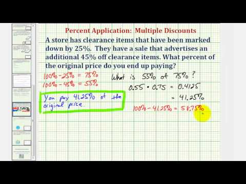 Ex: Percent of Original Price Paid After Two Percentage Discounts