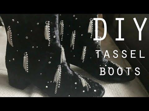 DIY Tassel Boots : Black Velvet Sparkle Tassel Shoe DIY 2018