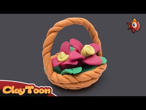 Flower basket | Polymer clay tutorial for kids
