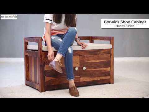 Shoe Racks – Shop Designer Shoe cabinet in Honey Finish From Wooden Street