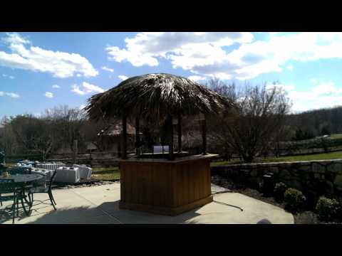 Tiki Kev - West Chester Pa re-thatch video 2, Tiki Bar , Tiki hut