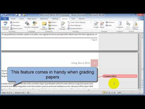 Spell checking, grammar checking and comments in Word 2010