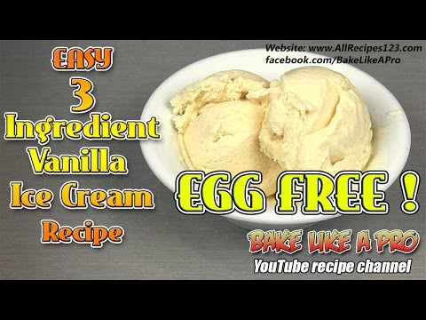 Easy 3 Ingredient Vanilla Ice Cream Recipe EGG FREE / NO CHURN RECIPE