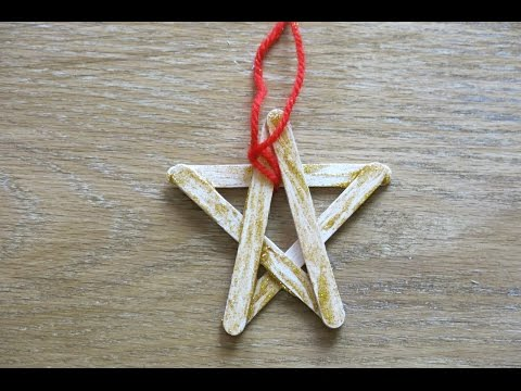 DIY Christmas Stars Ornament. How to Make Ornaments from Popsicle Sticks.