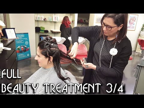 ✂️ Haircut with Scissors and Dryer - ASMR no talking - Woman Hairdresser