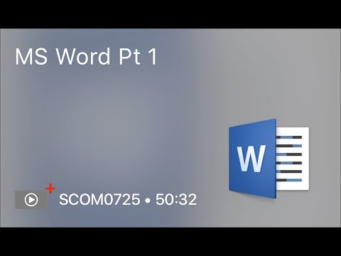 SCOM0725 - MS Word Pt 1 - Preview