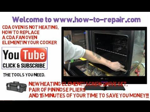 CDA fan oven cooker not heating, how to replace a CDA, Delonghi, Elba, kenwood, Tecnolec fan oven el
