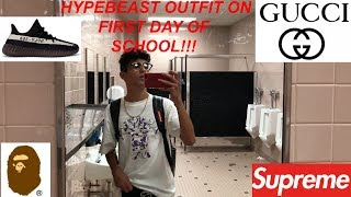 WEARING HYPEBEAST OUTFIT ON FIRST DAY OF SCHOOL!!! (Vlog #157)