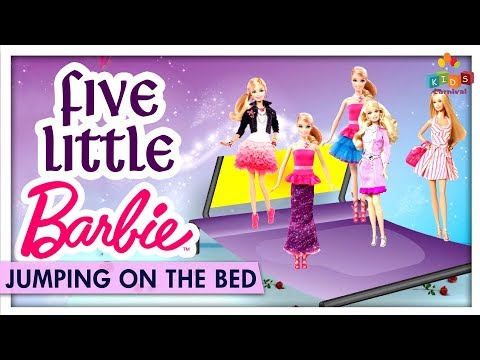 Five Little Barbie Jumping On The Bed - Learn Jumping On The Bed Nursery Rhymes - Kids Carnival