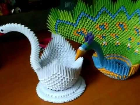 Origami Peacock and Swan Hand Craft