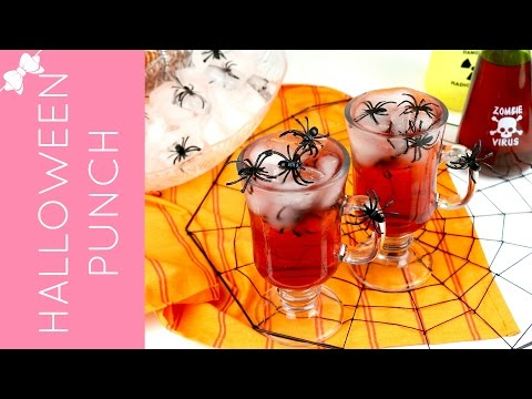 Easy Halloween Spider Blood Punch (kid friendly or alcoholic) // Lindsay Ann Bakes