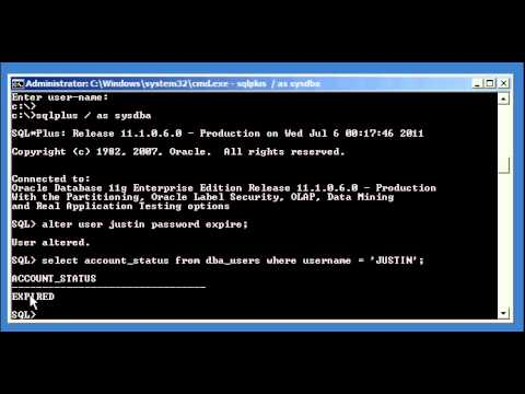 Oracle DBA Justin - How to manually expire a user account's password in an Oracle database