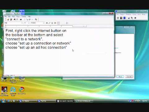Ad hoc Connection Tutorial (computer to computer network) Windows Vista
